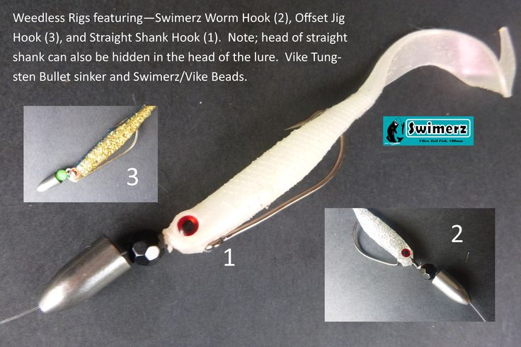 Weedless Rigging with 1) Swimerz Straight Shank O'Shaunessy Hook, 2) Swimerz Wide Gape Worm Hook, 3) Swimerz Offset O'Shaunessy Jig Hook