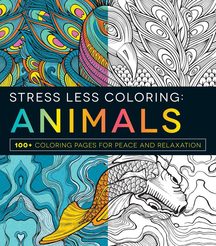 Stress Less Coloring Animals Adult Coloring Book