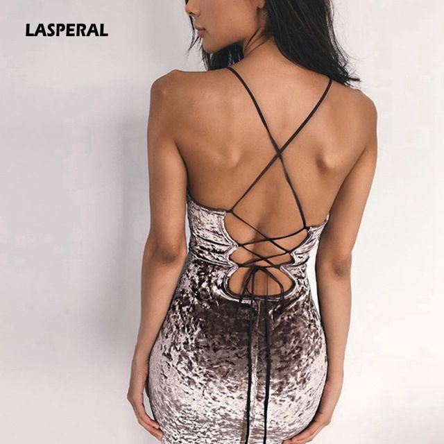 Best Deals $9.76, Buy LASPERAL 2017 New Lace Up Velvet Party Dress Women Dress Backless Sexy Dress Retro Dress Pencil Skater Bodycon Evening Vestidos
