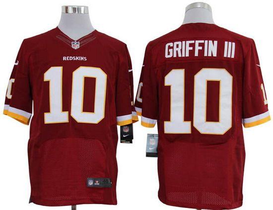 Nike Redskins #10 Robert Griffin III Red Team Color Mens NFL Elite Jersey
