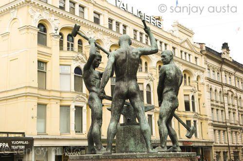 The statue of three blacksmiths, Helsinki, Finland
