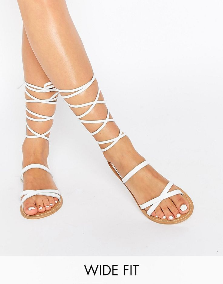 Image 1 ofASOS FINDER'S KEEPERS Wide Fit Leather Lace Up Sandals