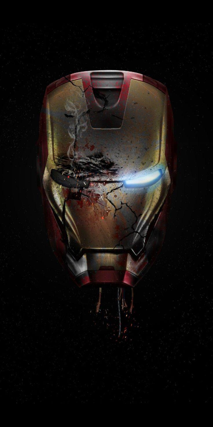 Iron Man Damaged Helmet Endgame iPhone Wallpaper ...