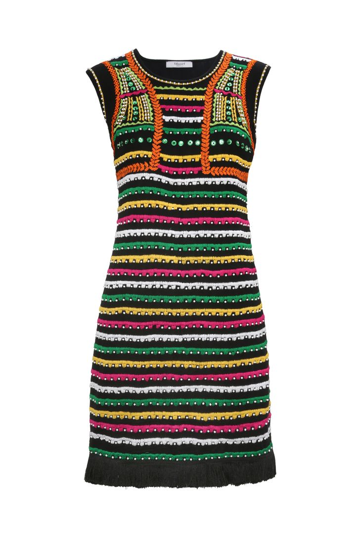 New Hippie Chic – Blugirl Spring Summer 2017 • Viscose Dress With Ethnic Patterns • A gypsy-inspired sleeveless viscose dress with appliqués and multicolored embroidery.