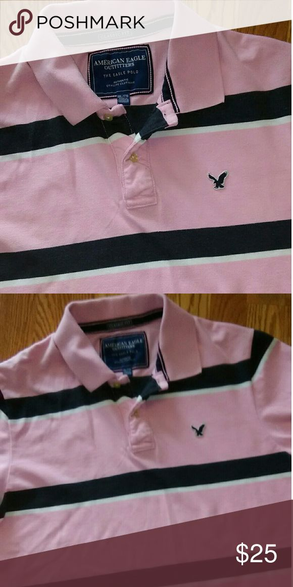 American Eagle Shirt Excellent condition Light pink with Navy and White stripes XXL Classic Fit American Eagle Outfitters Shirts Polos