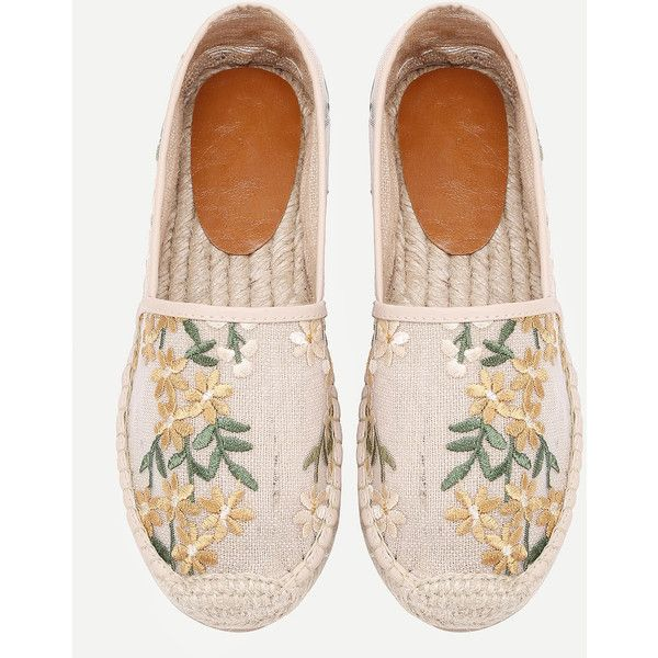 SheIn(sheinside) Flower Embroidery Cap Toe Espadrille Flats (3805 RSD) ❤ liked on Polyvore featuring shoes, flats, beige flats, cap toe flats, cap toe shoes, flat shoes and lace flats