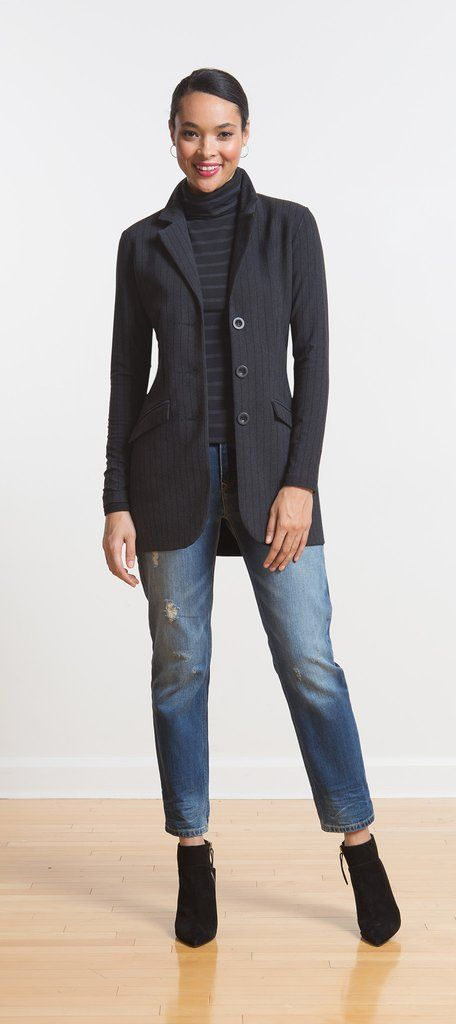 Long blazer with tapered stitching for a flattering fit, can be worn as part of a suit or casually with jeans