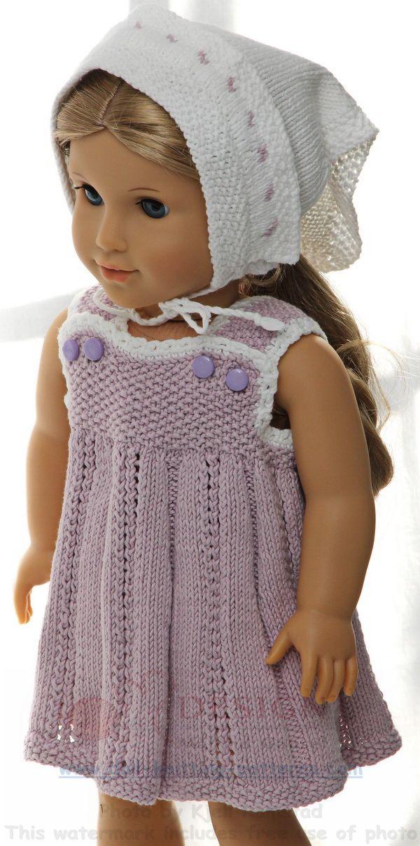 Puppenkleidung stricken - Sommerlich und süß in flieder und weiß
