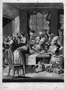"""Boston Tea Party - This 1775 British cartoon, """"A Society of Patriotic Ladies at Edenton in North Carolina"""", satirizes the Edenton Tea Party, a group of women who organized a boycott of English tea."""