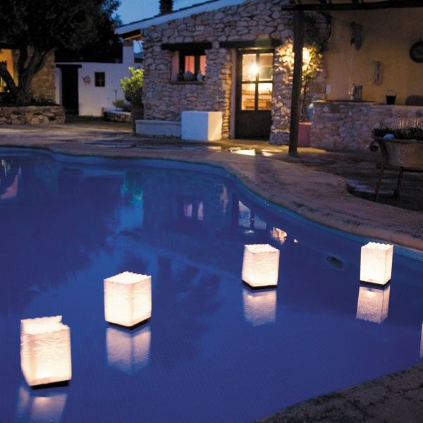 Lot de 4 Lanternes en Papier Flottantes Piscine Luminaria JardinChic
