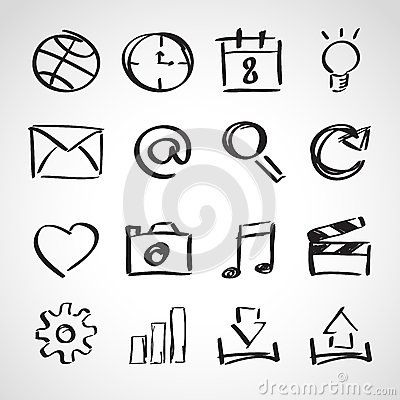 Ink style sketch set - web icons