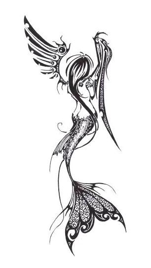 Mermaid Tattoo Flash Art ~A.R.