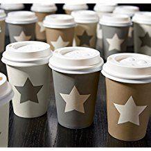 72STK Coffee to go taza Stars Blanco Gris Marrón Café Taza con tapa 250ml Vasos de cartón Café estrellas Vintage Estrella Party Star