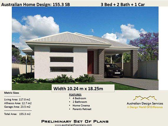 155 3 M2 3 Bedroom Single Carport Concept House Plans For Etsy House Plans For Sale House Plans Bedroom House Plans
