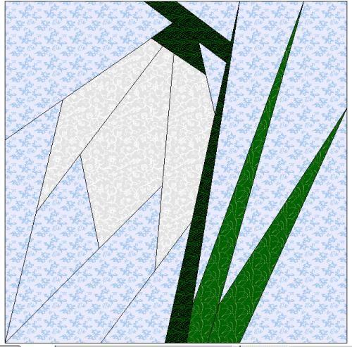 Snowdrop Quilt Block  Paper-pieced