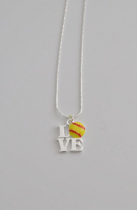 Good stocking stuffer for Natalie....softball love necklace by Jewelrybydawn1 on Etsy