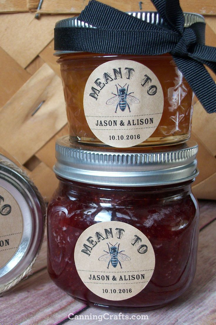 Rustic Kraft Meant to Bee wedding jam jar labels are perfect for wedding favor jars or bridal shower favors. CanningCrafts.com #weddingfavors  #rusticwedding