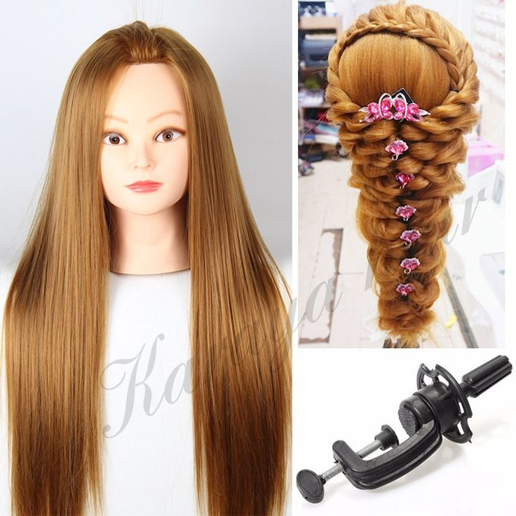 Blonde 22'' Mannequin Head For Wig Hairdressing Dummy Doll Head Hair Styling Mannequins Women Manikin Makeup Training Head+Clamp