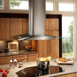Broan EI5936SS 36 inch Island Chimney Range Hood with 500 CFM Internal Blower, 3-Speed Electronic Push Button Control, Quad Halogen Lighting, Delay Off, Aluminum Mesh Filters and Convertible to Non-Ducted Operation