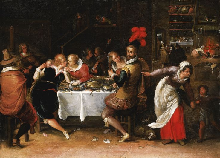 Frans Francken the Younger ANTWERP 1581 - 1642 THE PARABLE OF THE PRODIGAL SON oil on oak panel, with an unidentified collector's cipher 'PH', and an unidentified wax seal bearing the initials 'CS' with a cross 26.3 by 36 cm.; 10 3/8  by 14 1/8  in.: