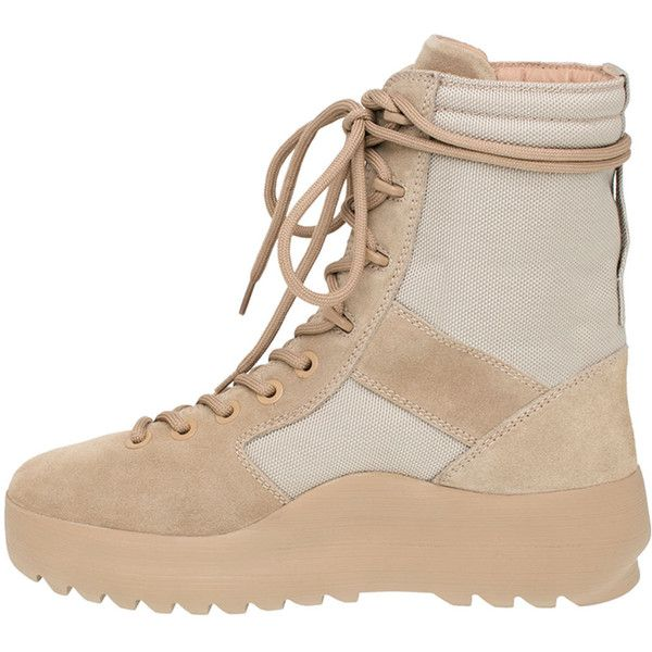 Yeezy Yeezy Suede Military Boot ($645) ❤ liked on Polyvore featuring shoes, boots, desert light, suede lace up flats, flat heel boots, military boots, suede combat boots and lace up combat boots