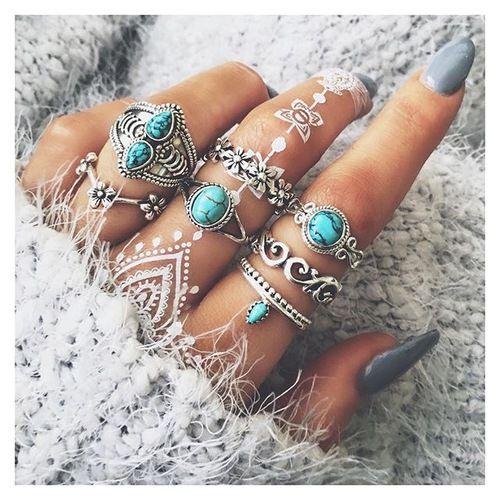 Imagem de nails, rings, and blue