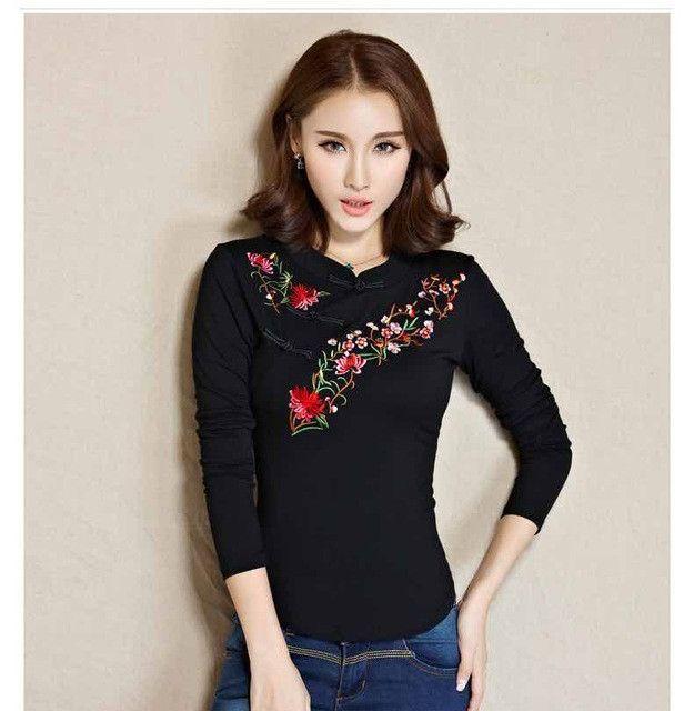 Cheap-clothes-china camisas femininas 2017 ethnic hippie mandarin collar long sleeve dark blue white green black yellow blouse