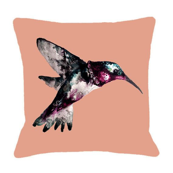 Hummingbird Illustration Cushion Cover  Bird Cushion by MicaPeet