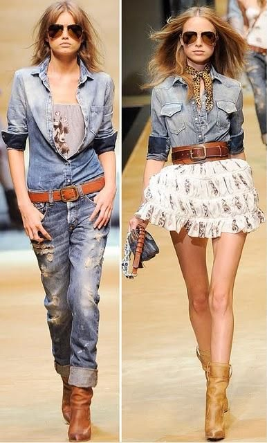camisas vaqueras lo ltimo en moda con pantalones o faldas combnalas como ms
