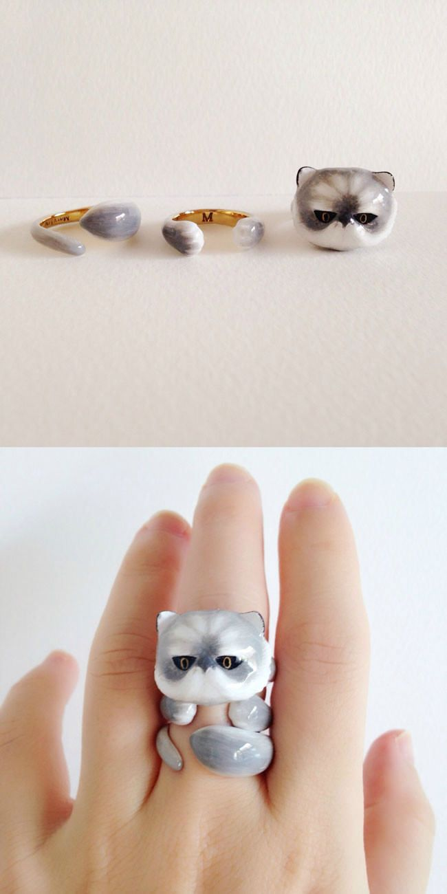 Artist combines rings to make adorable animals on your fingers