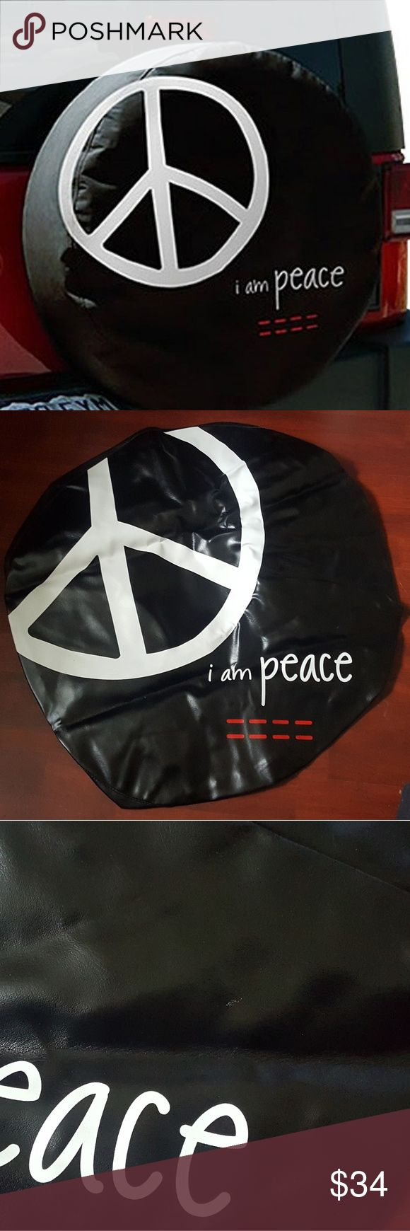 "Peace Love World Black Tire Cover W/ GIFT Peace Love World ""I am Peace"" Black Tire Cover 29"". Size M fits 29"" tires: Jeep Liberty, may fit the Honda CR-V. W/GIFT: 3 Bracelets PLW or 1 PLW sticker of your choice Peace Love World Accessories"