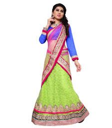 Buy Green net embroidered unstitched lehenga Online