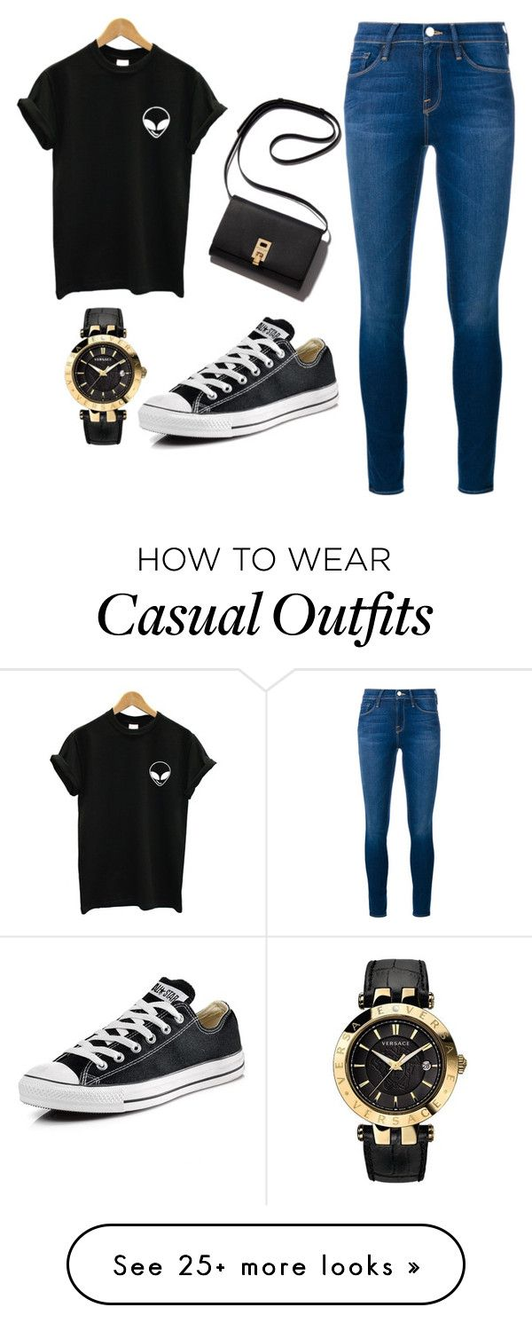 """Casual Outfit"" by iameka on Polyvore featuring Frame Denim, Converse and Versace"