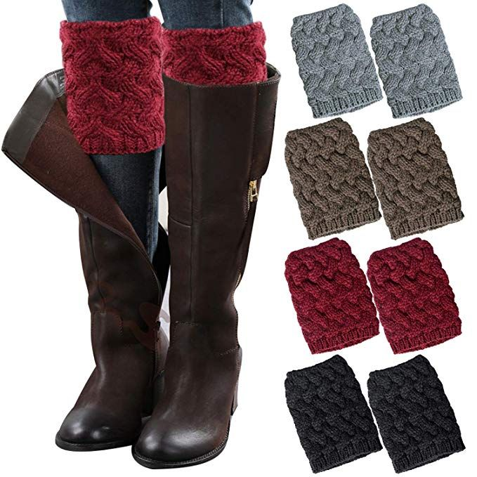 d847aba37ad Loritta 4 Pairs Women Winter Crochet Knitted Boot Cuffs Toppers ...