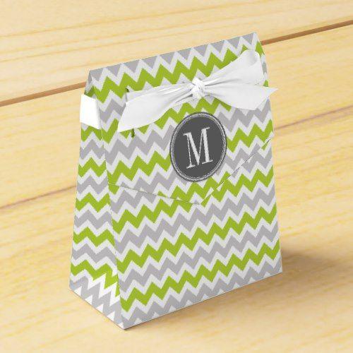 Gray and Green Chevron Monogram Favor Box