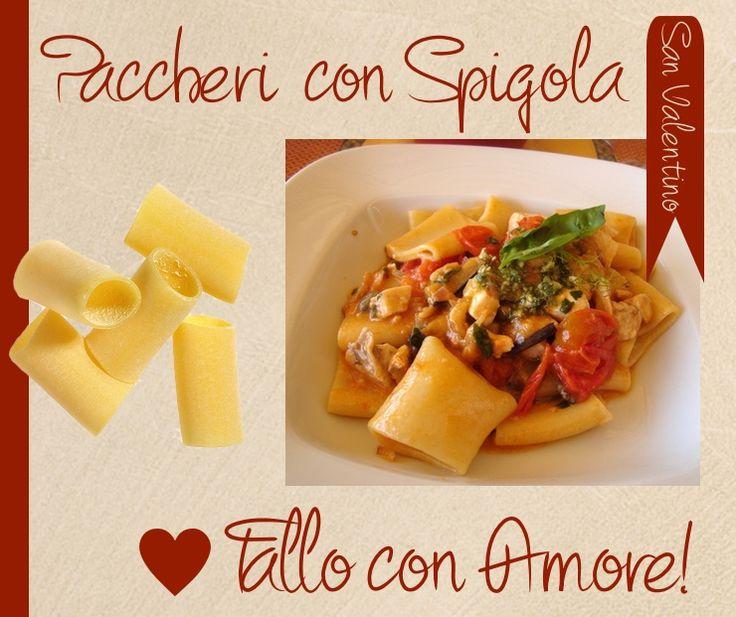 Sfilettate la spigola e tagliate la polpa dei pomodori a dadini. Tagliate la polpa di spigola a bocconcini, preparate un battuto d'aglio con olio e prezzemolo. Cuocete la #pasta. Lasciate appassire pomodoro e spigola. Saltate 5 min. la pasta nel condimento e servite, spolverando con altro prezzemolo. Tutto questo con i paccheri di Gusti du Toscana!http://bit.ly/10DFkSO #cibo #gusto #madeintuscany #sapore #sanvalentino #amore