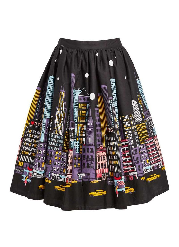 The Gotham New York Printed Skirt comes in a full, cotton shape and features a fun city skyline scene border print - and pockets!