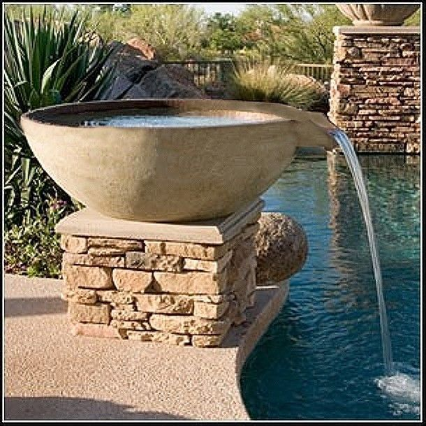 Concrete Water Fountain Pools : Solid color scupper bowl quarry series for your pool or