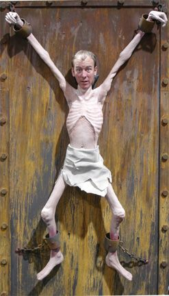 Photo op prop for adult party. Brilliant!  Skin 'N Bones on a decorated 4-foot x 8-foot panel. This body can be moved+wiggled from behind. [to buy: 2,500 dollars]