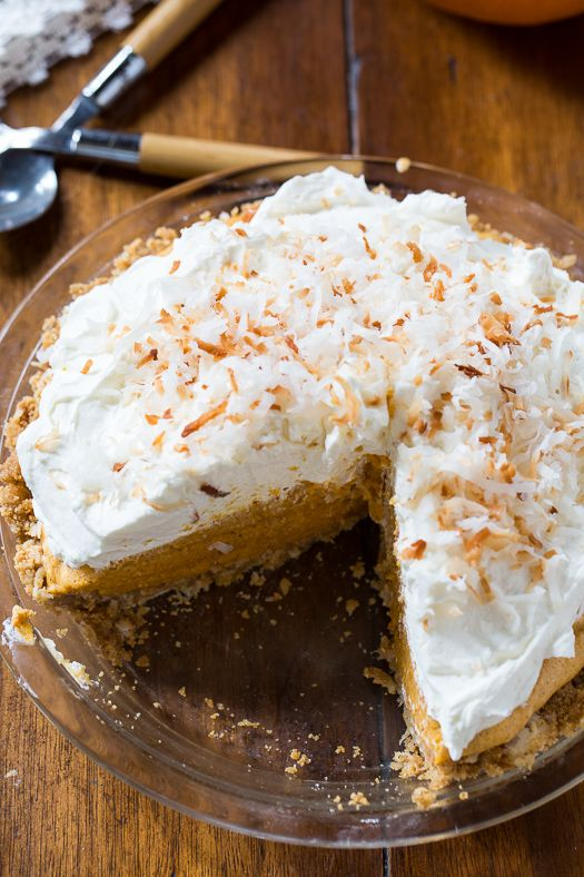 Coconut Pumpkin Chiffon Pie with a to die for mascarpone whipped cream topping.
