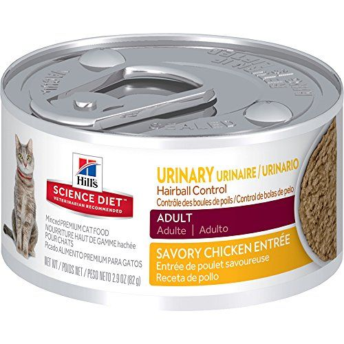 Hills Science Diet Adult Urinary Hairball Control Chicken Entrée provides precisely balanced nutrition to help support the health of the whole urinary system while also helping to avoid hairballs....