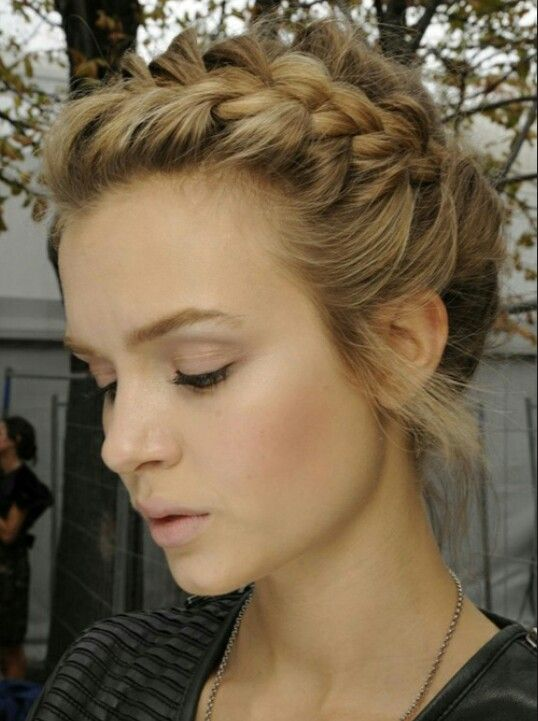 A loosely braided updo for shoulder length hair?