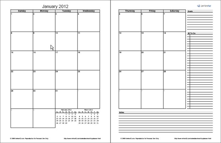 "Free 2-Page Monthly Downloadable Planner    This version of the monthly planner is designed for printing on 2 facing pages in a 3-ring binder, as shown in the image to the left.    ""No Installation, No Macros - Just a simple spreadsheet - An original creation by Dr. Jon Wittwer of Vertex42.com"""