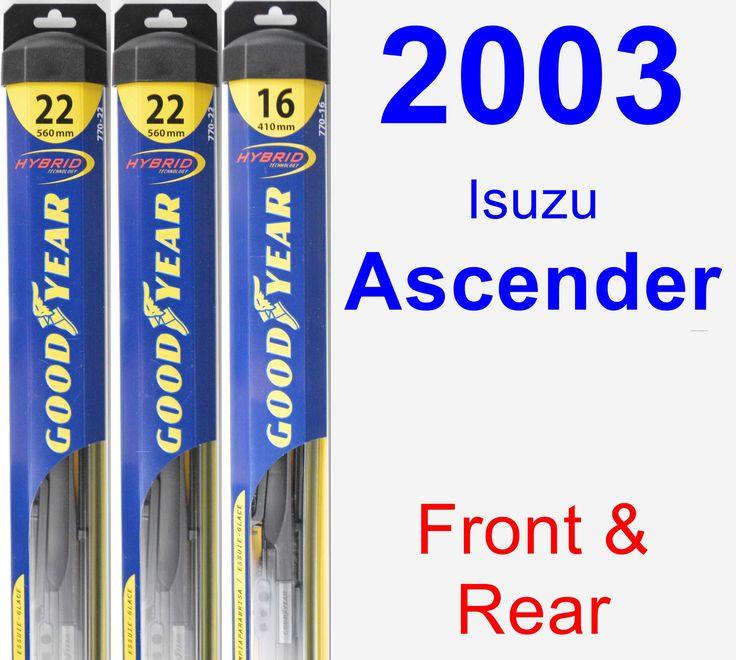 Front & Rear Wiper Blade Pack for 2003 Isuzu Ascender - Hybrid