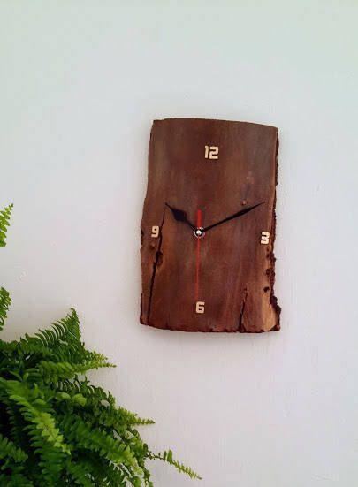 Wood Clock, Raw Wood Clock, Wall Clock, Driftwood Bark Clock, OOAK, Recycled Wood, Wooden Clock, Handmade Wall Clock, Reclaimed Wood Clock