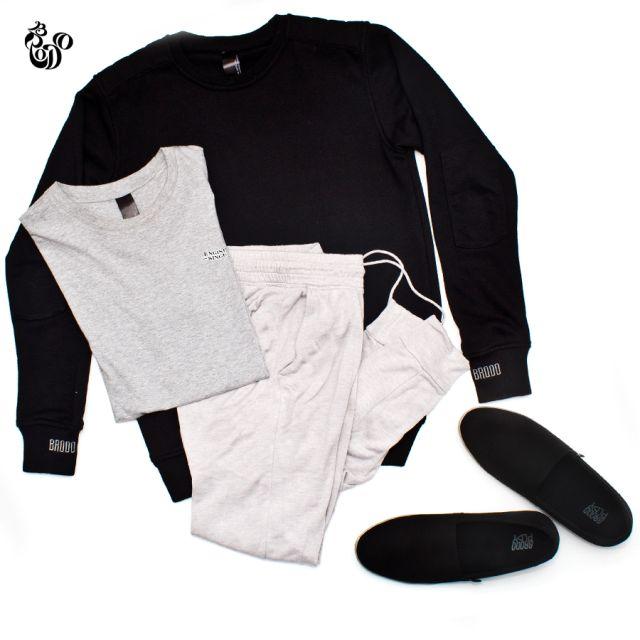 Felpa Sweatshirt Black + Rooster T-Shirt Misty Grey + Galium Canvas Black Transparen Sole