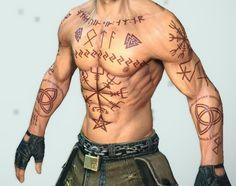 viking rune tattoos - Google Search ((I feel like this is what MCU!Thor would have if he had tattoos.))