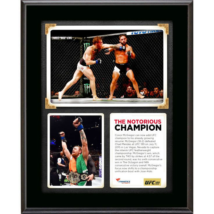 Conor McGregor Ultimate Fighting Championship Fanatics Authentic 10.5'' x 13'' UFC 189 And New Featherweight Champion Sublimated Plaque - $23.99