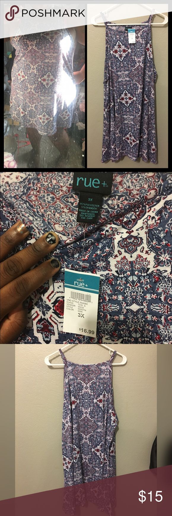 Rue21 aztec print dress size 3x Brand new never worn dress from rue21 plus size aztec print super cute with lil stretch breezy great for festival spring summer beachtime Rue 21 Dresses