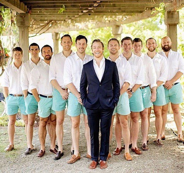 @chardphoto love this picture of the groom and his ushers! Great outfits for a beach wedding! #bridebook #bridebookgrooms #usher #wedding #beachwedding